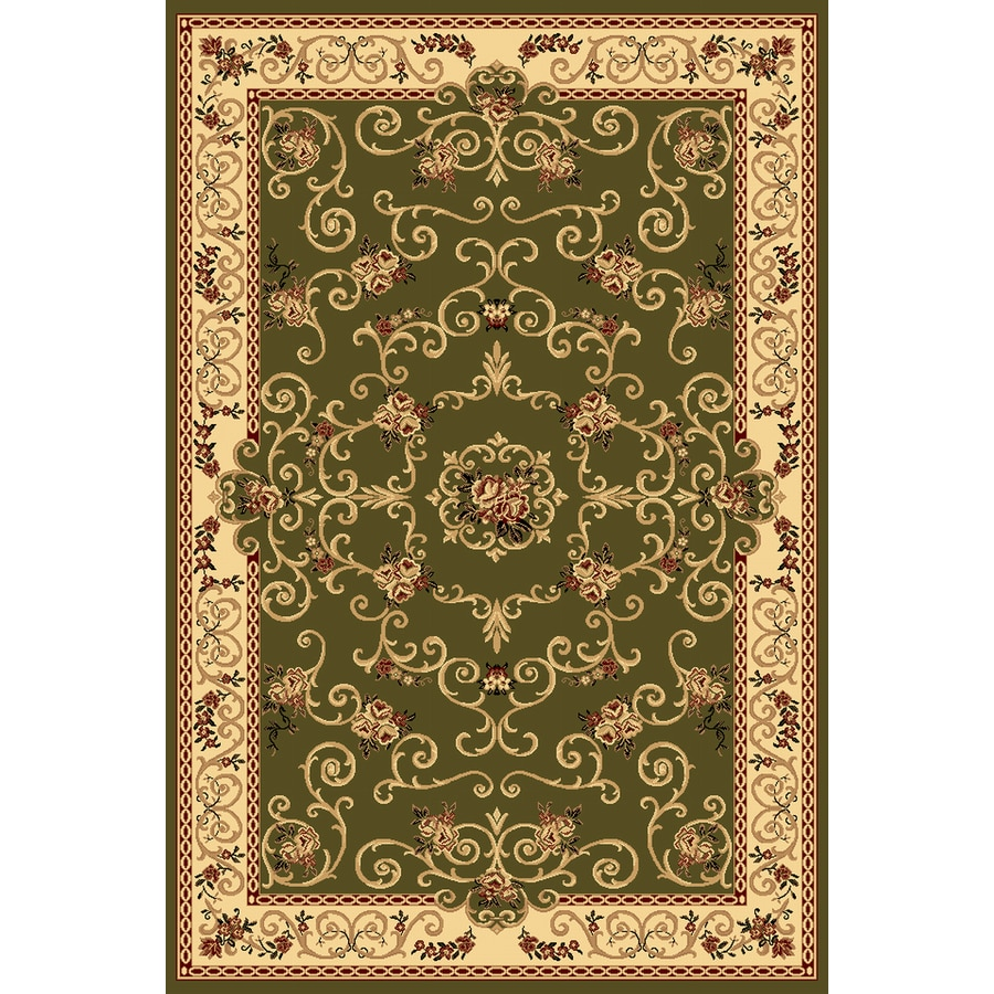 Rugs America New Vision Rectangular Green Floral Woven Area Rug (Common: 4-ft x 6-ft; Actual: 3.91-ft x 5.25-ft)