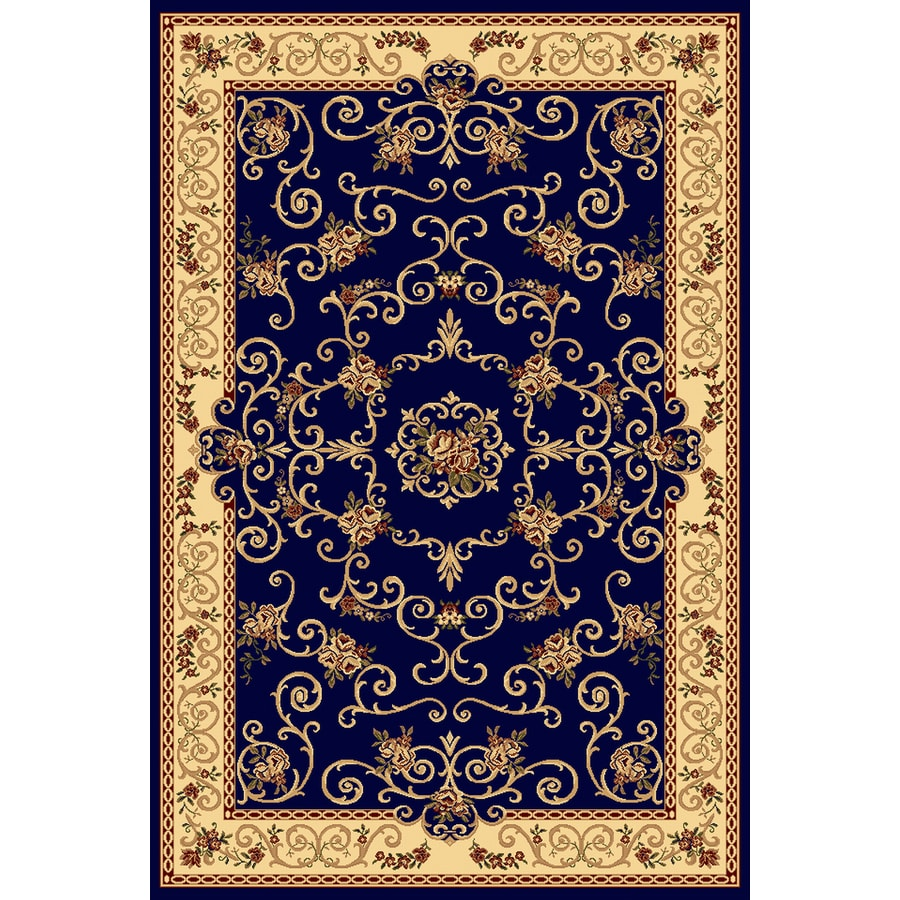 Rugs America New Vision Souvanerie Navy Rectangular Indoor Woven Area Rug (Common: 5 x 8; Actual: 63-in W x 94-in L)
