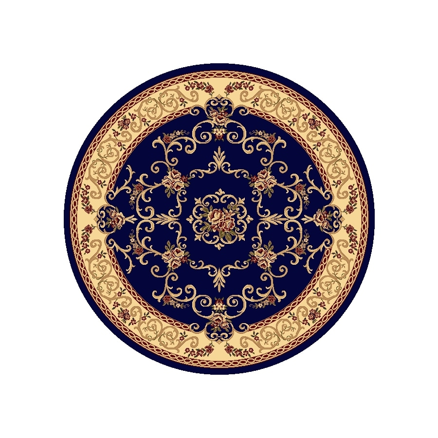 Rugs America New Vision Souvanerie Navy Round Indoor Woven Area Rug (Actual: 5.25-ft Dia)