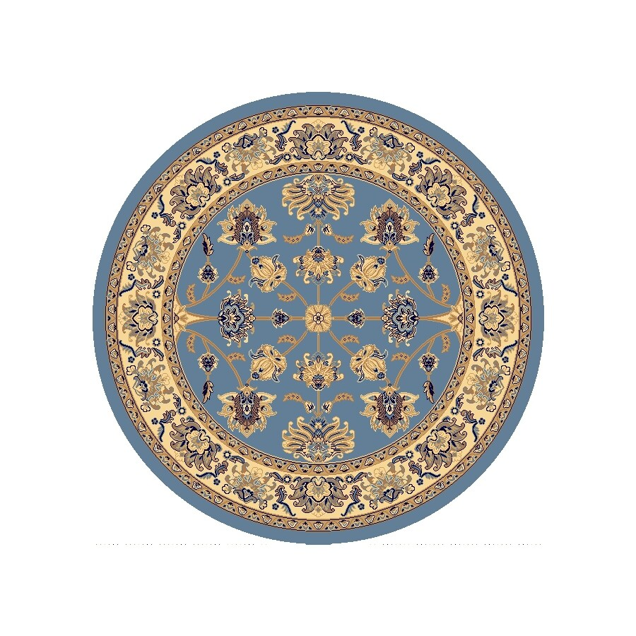 Rugs America New Vision Kashan Light Blue Round Indoor Woven Area Rug (Actual: 5.25-ft Dia)