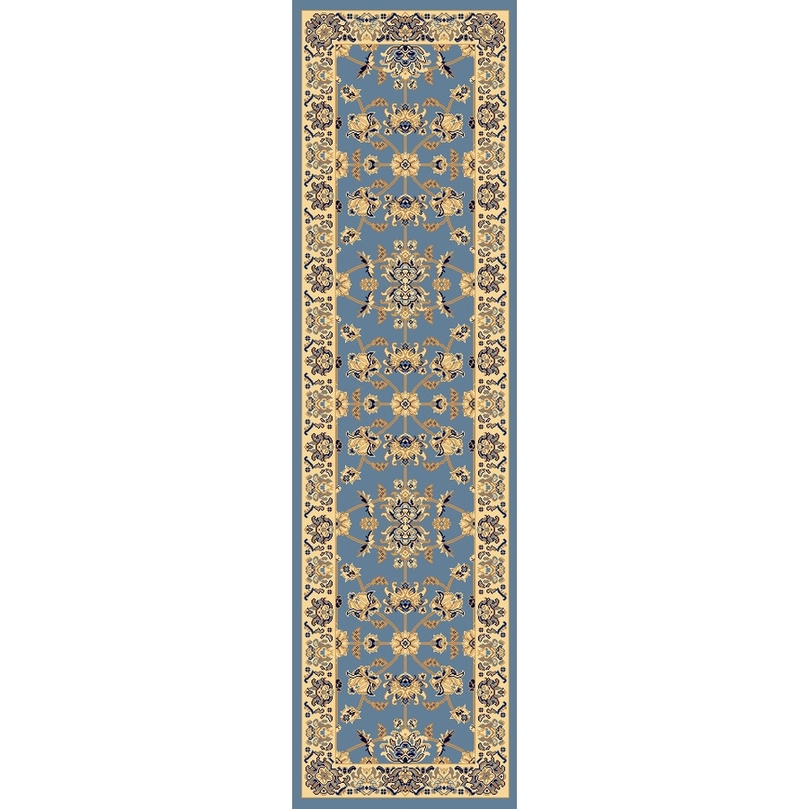 Rugs America New Vision Kashan Light Blue Rectangular Indoor Woven Runner (Common: 2 x 8; Actual: 27-in W x 94-in L)