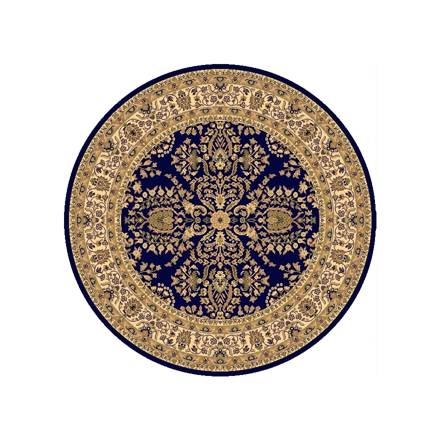 Rugs America New Vision Lilihan Navy Round Indoor Woven Area Rug (Actual: 5.25-ft Dia)