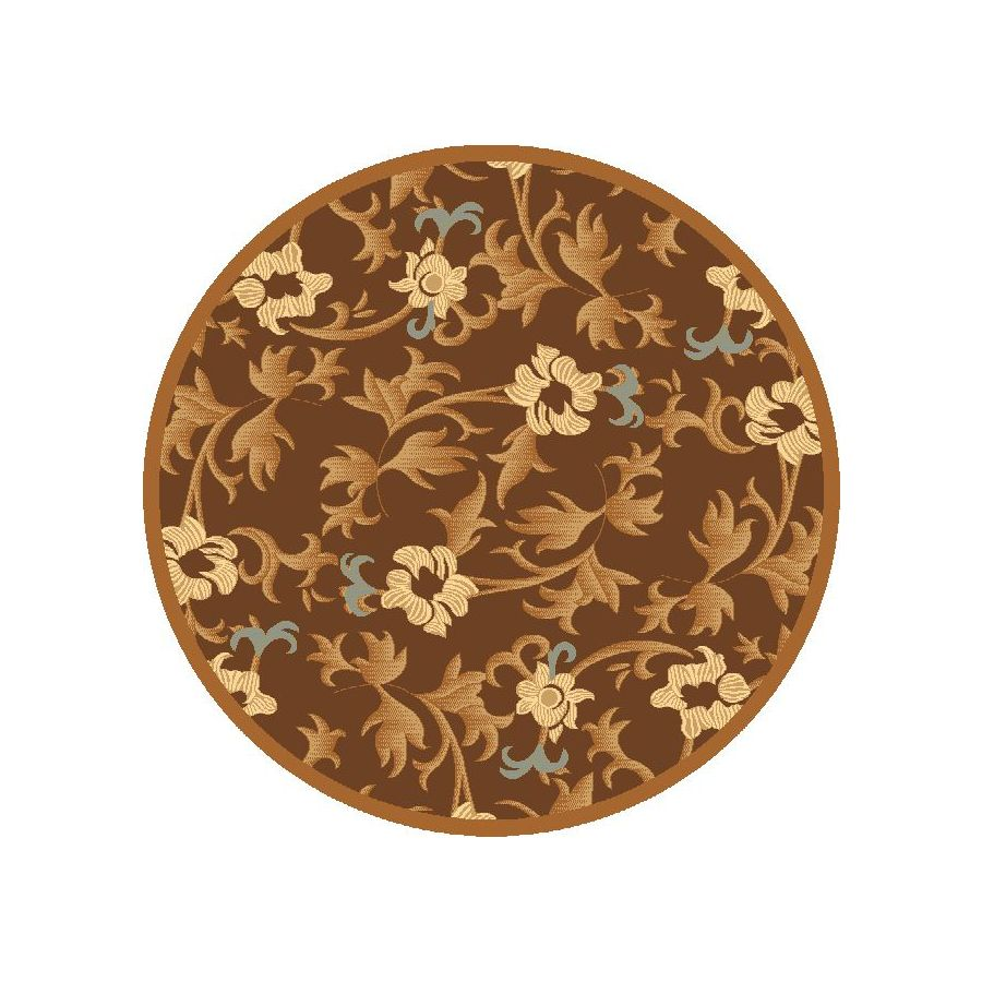 Rugs America Torino Round Brown Transitional Woven Area Rug (Common: 5-ft x 5-ft; Actual: 5.25-ft x 5.25-ft)
