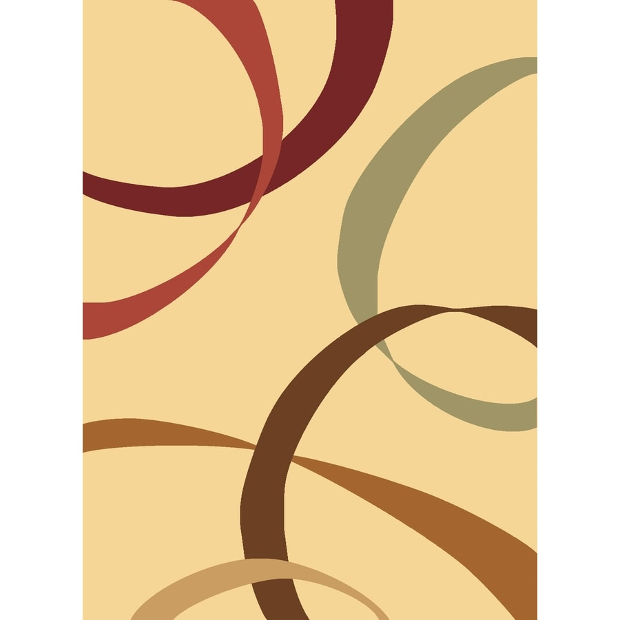 Rugs America Torino Ribbons Cream Rectangular Indoor Woven Area Rug (Common: 5 x 8; Actual: 63-in W x 94-in L)
