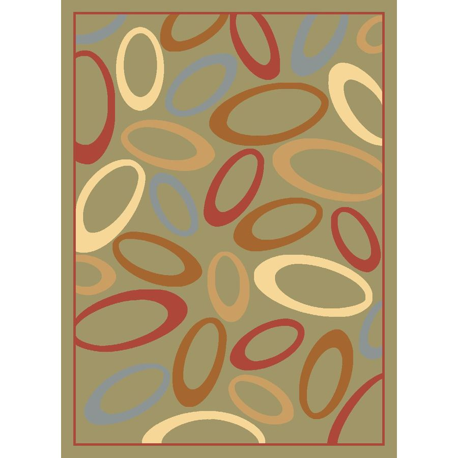 Rugs America Torino Circles Light Green Rectangular Indoor Woven Area Rug (Common: 8 x 10; Actual: 94-in W x 130-in L)