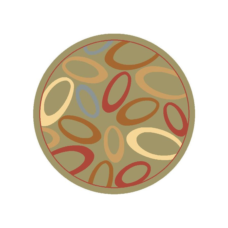 Rugs America Torino Round Green Transitional Woven Area Rug (Common: 5-ft x 5-ft; Actual: 5.25-ft x 5.25-ft)
