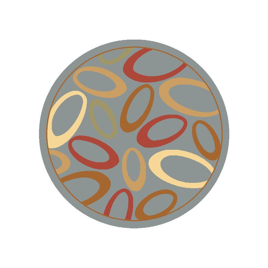 Rugs America Torino Round Blue Transitional Woven Area Rug (Common: 5-ft x 5-ft; Actual: 5.25-ft x 5.25-ft)
