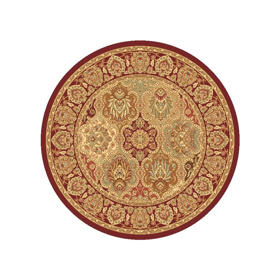Rugs America New Vision Panel Cherry Round Indoor Woven Area Rug (Actual: 5.25-ft Dia)