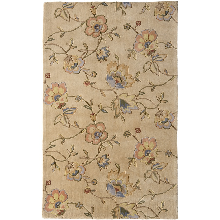 Rugs America Flora 7-ft x 9-ft Rectangular Brown Floral Wool Area Rug