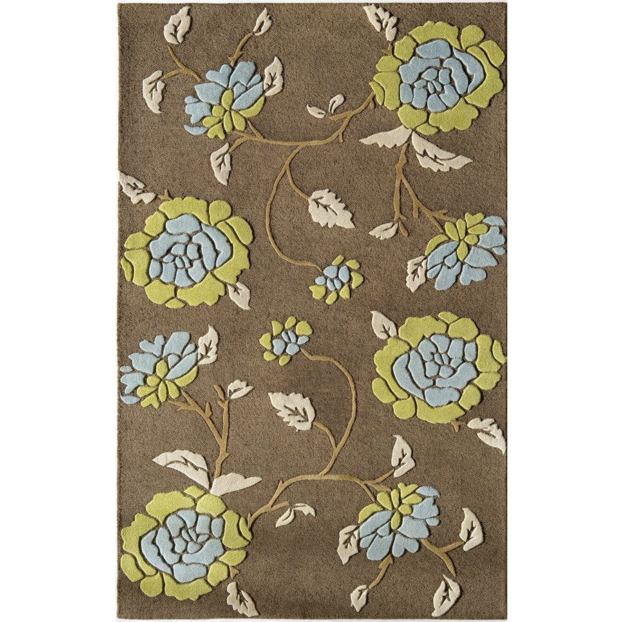 Rugs America Pacific 5-ft x 8-ft Rectangular Brown Floral Wool Area Rug