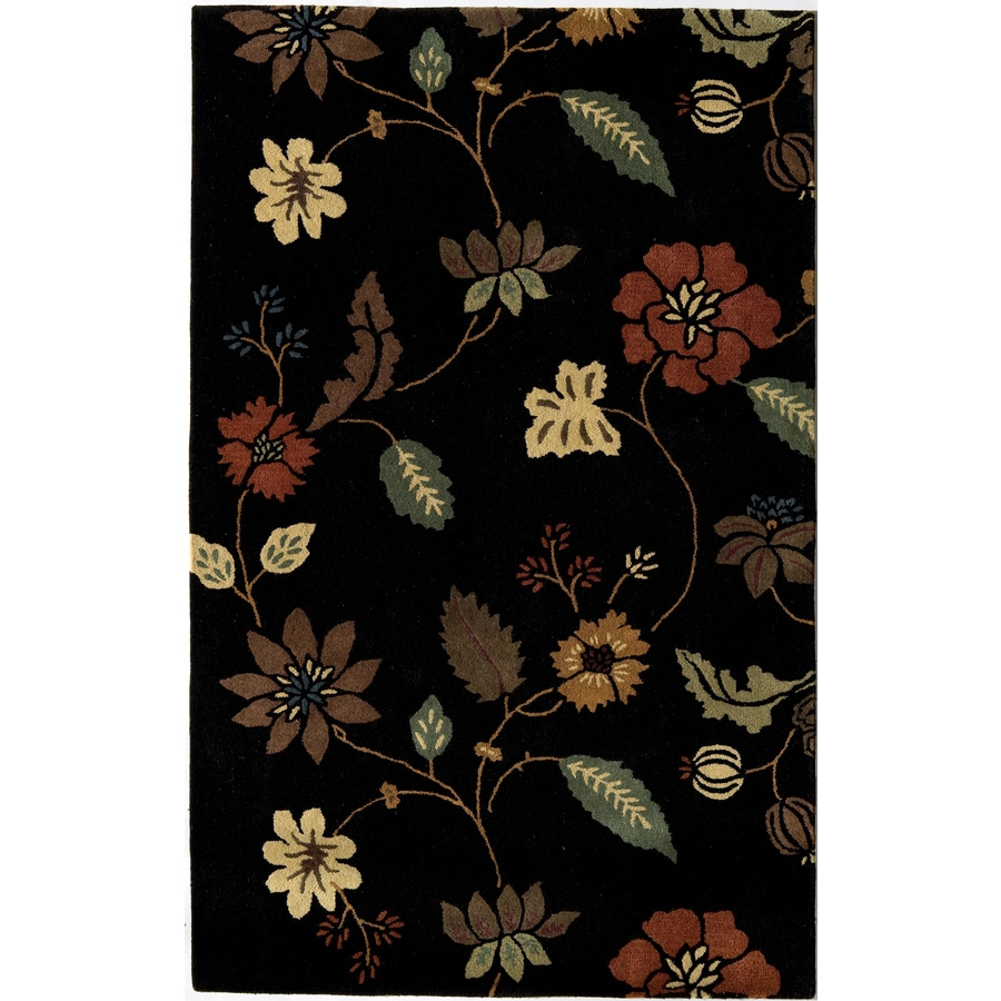 Rugs America Pacific 18-in x 27-in Rectangular Black Floral Wool Accent Rug