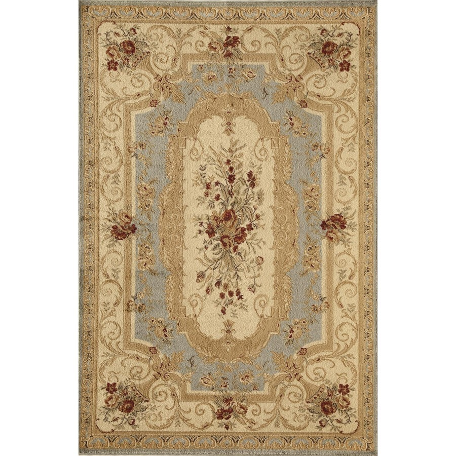 Rugs America Sorrento Aubusson Light Blue Rectangular Indoor Woven Area Rug (Common: 7 x 10; Actual: 79-in W x 114-in L)