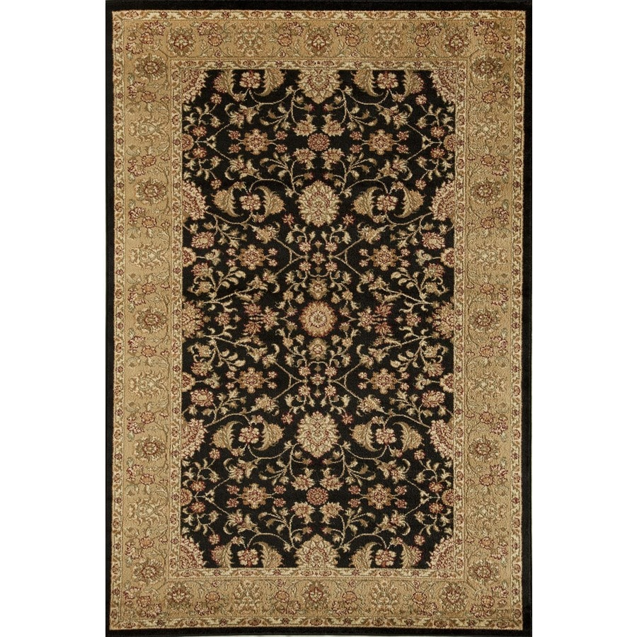 Rugs America Sorrento Tabriz Black Rectangular Indoor Woven Area Rug (Common: 8 x 11; Actual: 94-in W x 130-in L)
