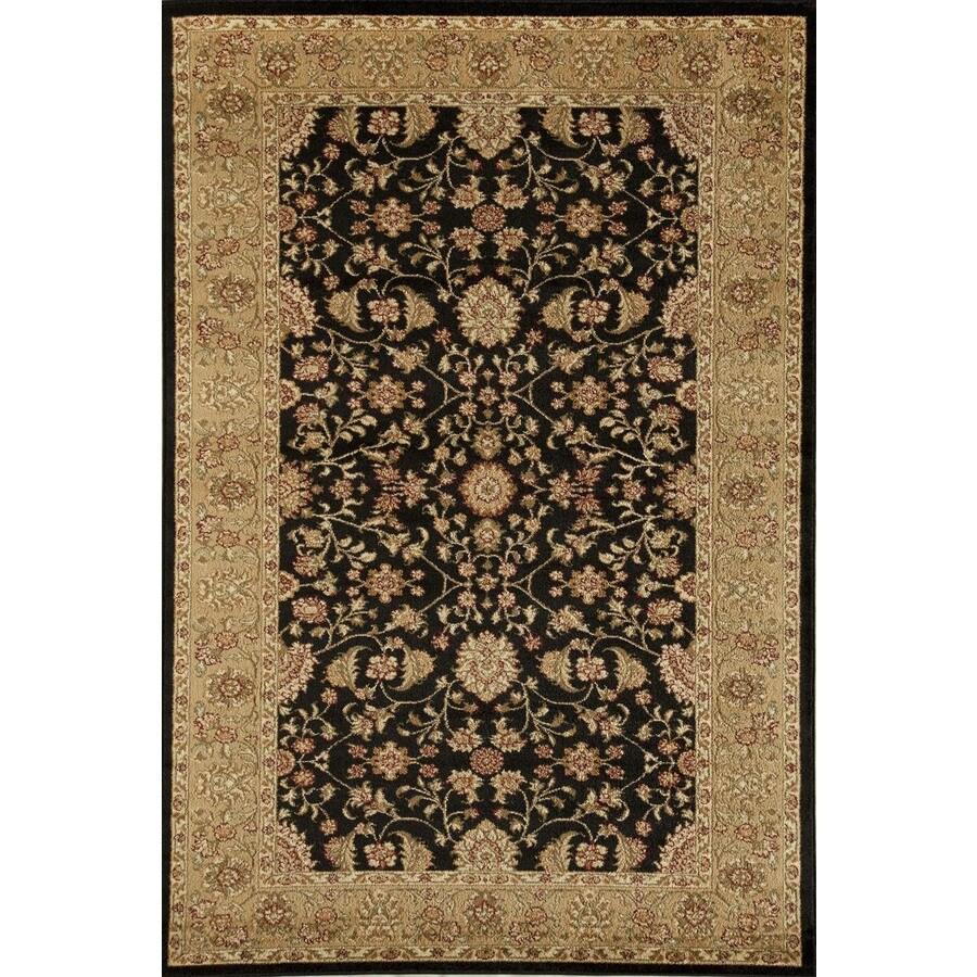 Rugs America Sorrento Tabriz Black Rectangular Indoor Woven Area Rug (Common: 7 x 10; Actual: 79-in W x 114-in L)