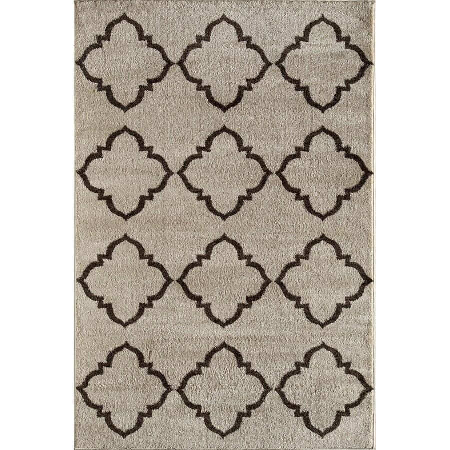 Rugs America Hudson Cream Lattice Rectangular Indoor Woven Area Rug (Common: 8 x 11; Actual: 94-in W x 130-in L)