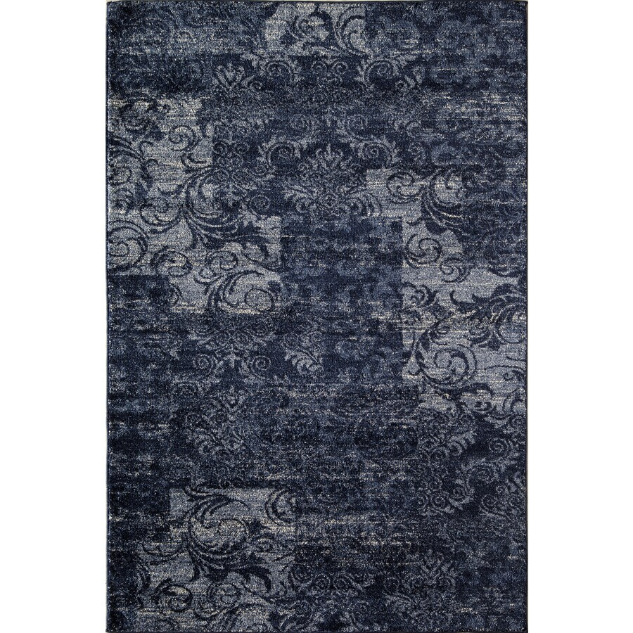 Rugs America Hudson Navy Patch Rectangular Indoor Woven Area Rug (Common: 5 x 8; Actual: 63-in W x 94-in L)