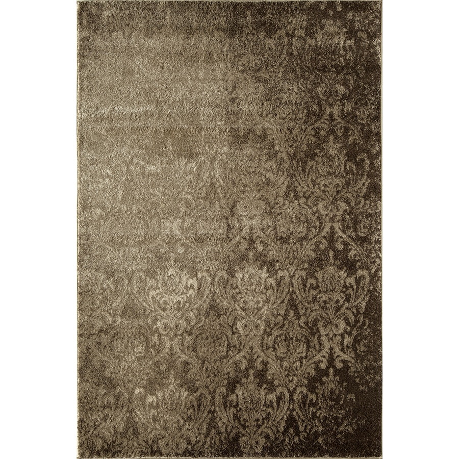 Rugs America Hudson Tan Damask Rectangular Indoor Woven Area Rug (Common: 8 x 11; Actual: 94-in W x 130-in L)