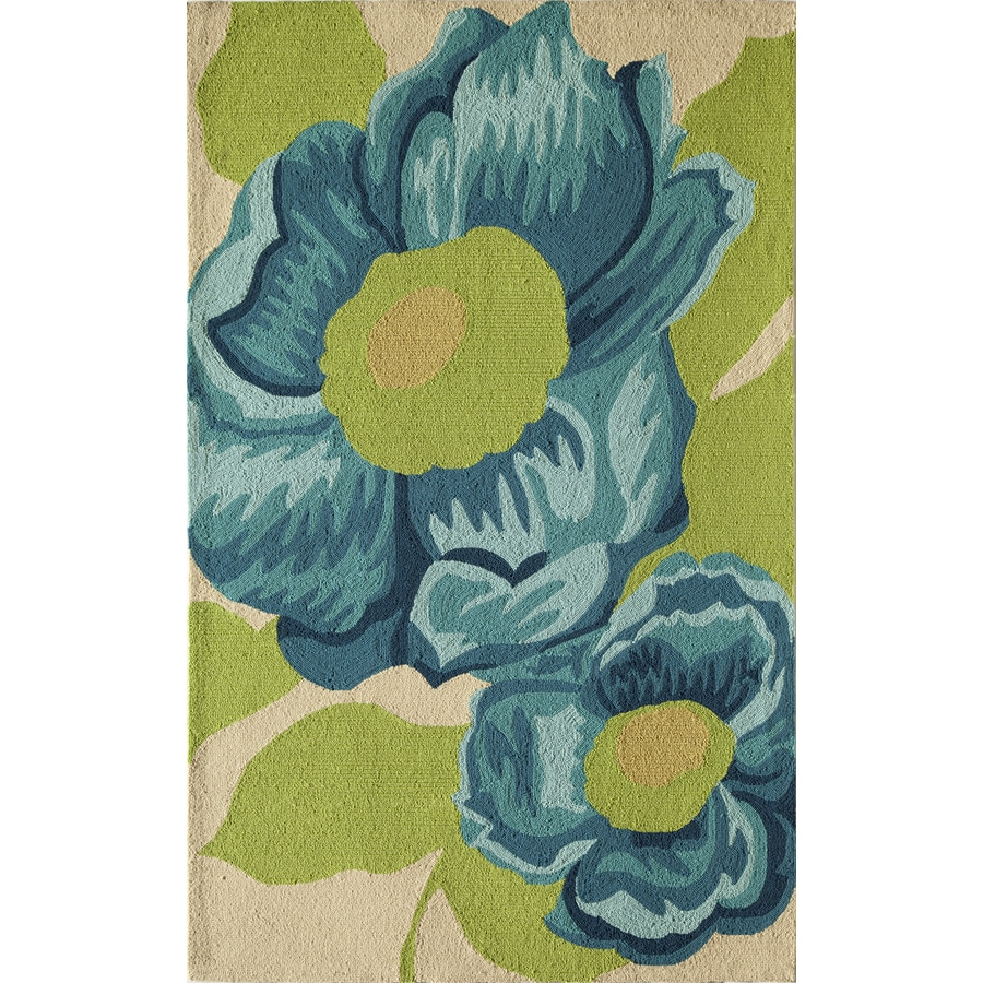 Rugs America Lenai Blue Camellia Rectangular Indoor and Outdoor Hand-Hooked Area Rug (Common: 5 x 8; Actual: 60-in W x 90-in L)
