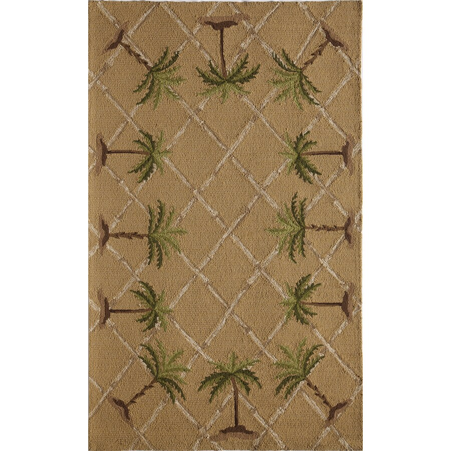 Rugs America Lenai Sunny Palm Rectangular Indoor and Outdoor Hand-Hooked Area Rug (Common: 5 x 8; Actual: 60-in W x 90-in L)