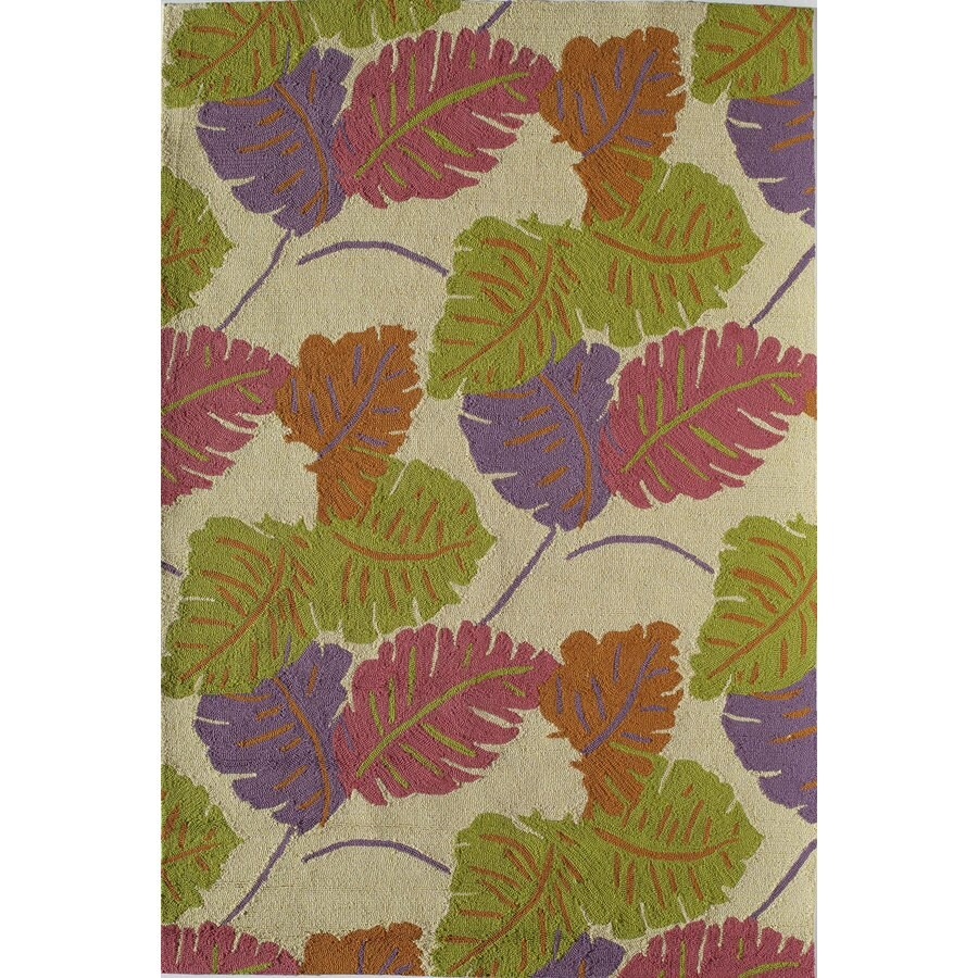 Rugs America Lenai Coral Glow Rectangular Indoor and Outdoor Hand-Hooked Area Rug (Common: 8 x 10; Actual: 90-in W x 114-in L)