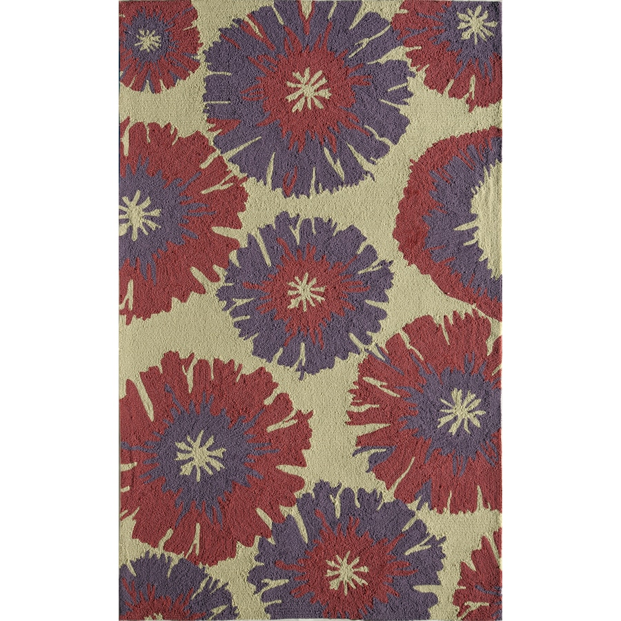 Rugs America Lenai Lilac Lotus Rectangular Indoor and Outdoor Hand-Hooked Area Rug (Common: 8 x 10; Actual: 90-in W x 114-in L)