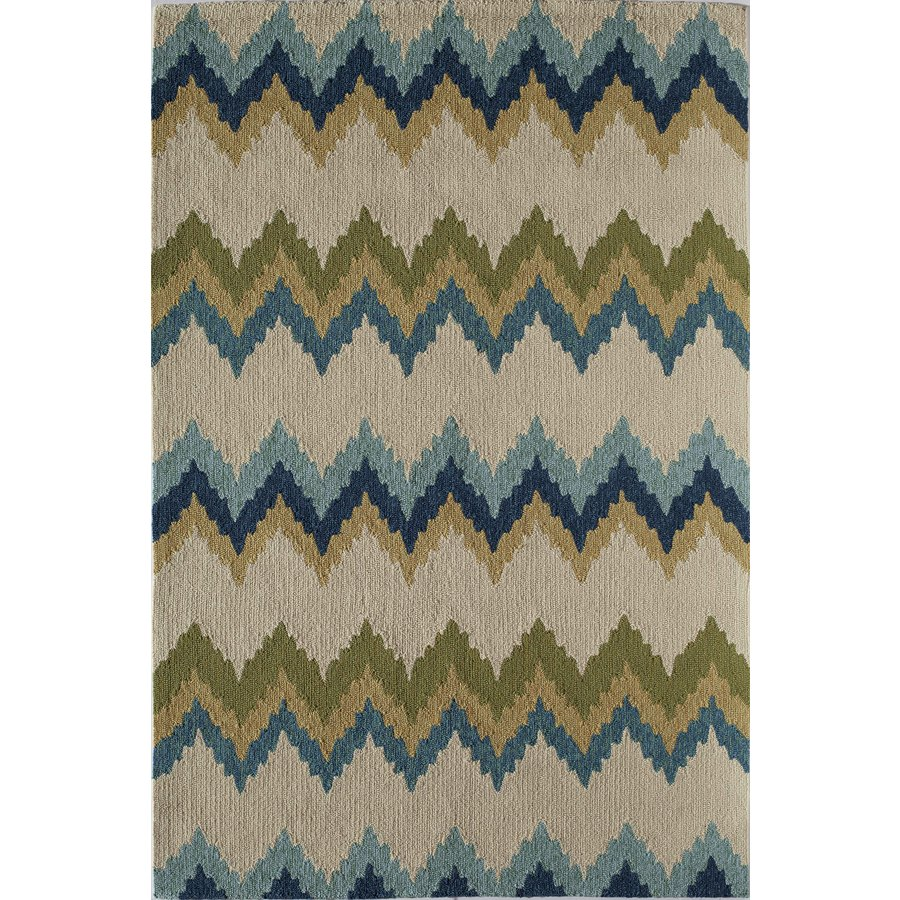 Rugs America Lenai Celeste Burst Round Indoor and Outdoor Hand-Hooked Area Rug (Actual: 7.5-ft Dia)