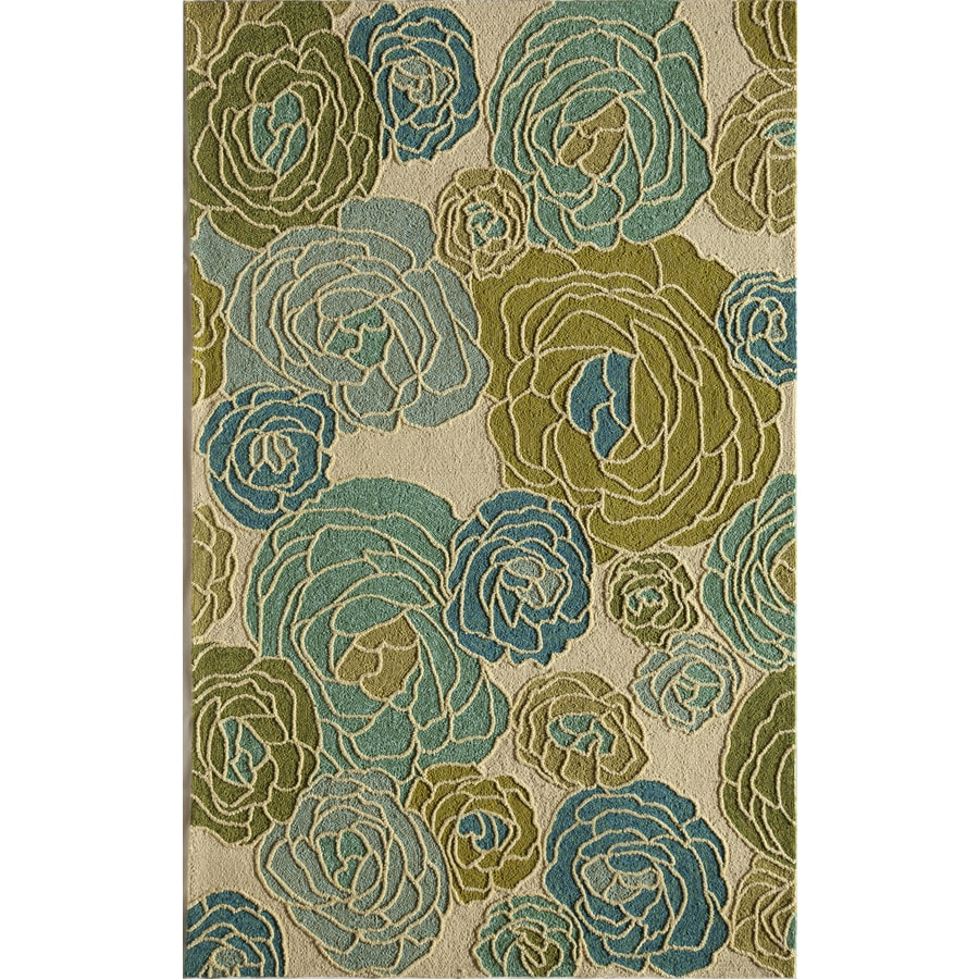 Shop Rugs America Lenai Blue Dahlia Round Indoor And Outdoor Hand Hooked Area