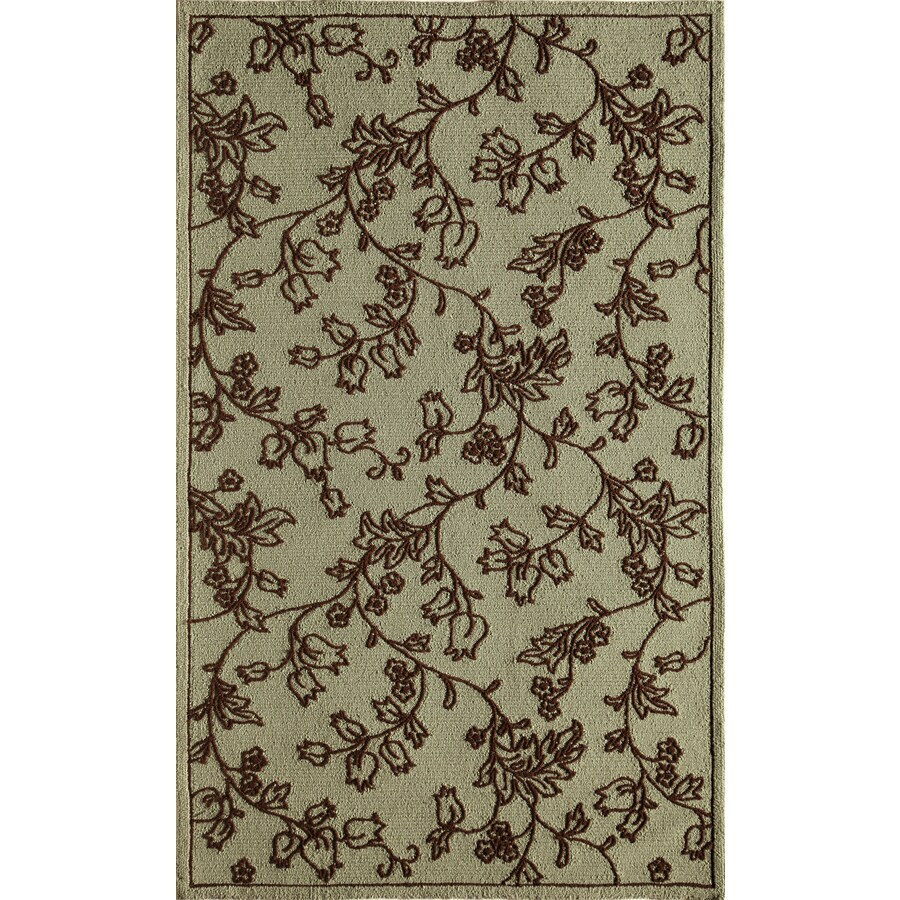 Rugs America Lenai Blue Scrolls Rectangular Indoor and Outdoor Hand-Hooked Area Rug (Common: 5 x 8; Actual: 60-in W x 90-in L)