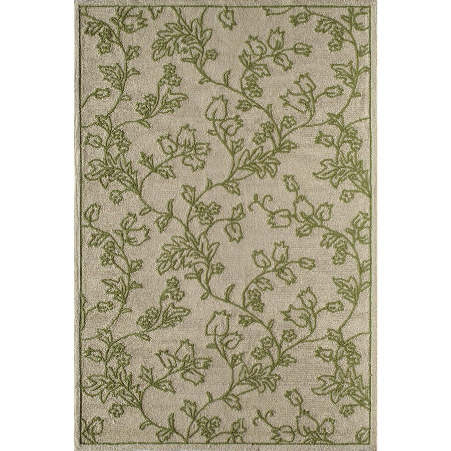 Rugs America Lenai Green Scrolls Rectangular Indoor and Outdoor Hand-Hooked Area Rug (Common: 8 x 10; Actual: 90-in W x 114-in L)