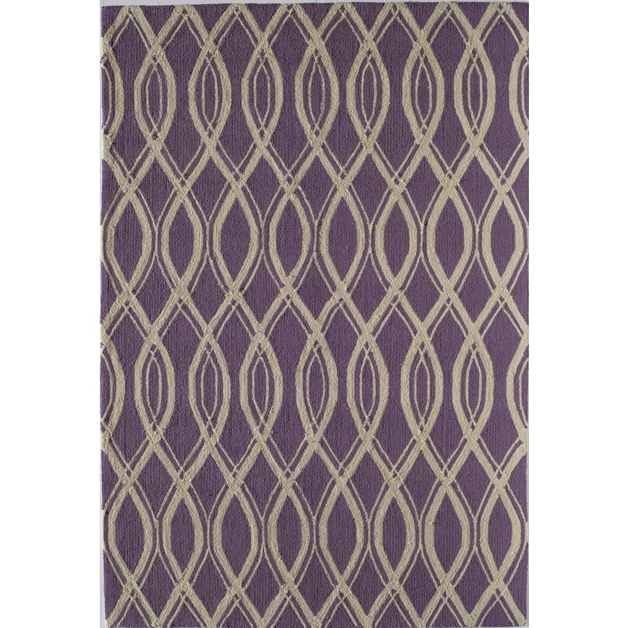Rugs America Lenai Grape Ice Round Indoor and Outdoor Hand-Hooked Area Rug (Actual: 7.5-ft Dia)
