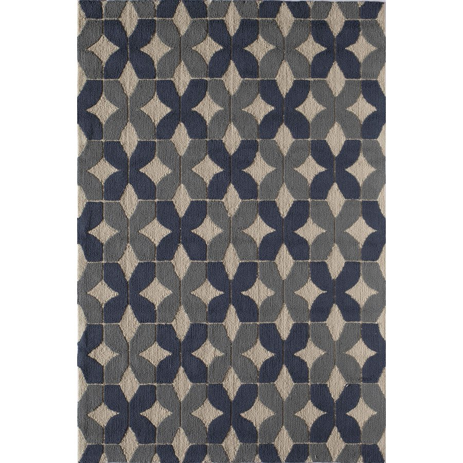 Rugs America Lenai Stratton Blue Rectangular Indoor and Outdoor Hand-Hooked Area Rug (Common: 5 x 8; Actual: 60-in W x 90-in L)