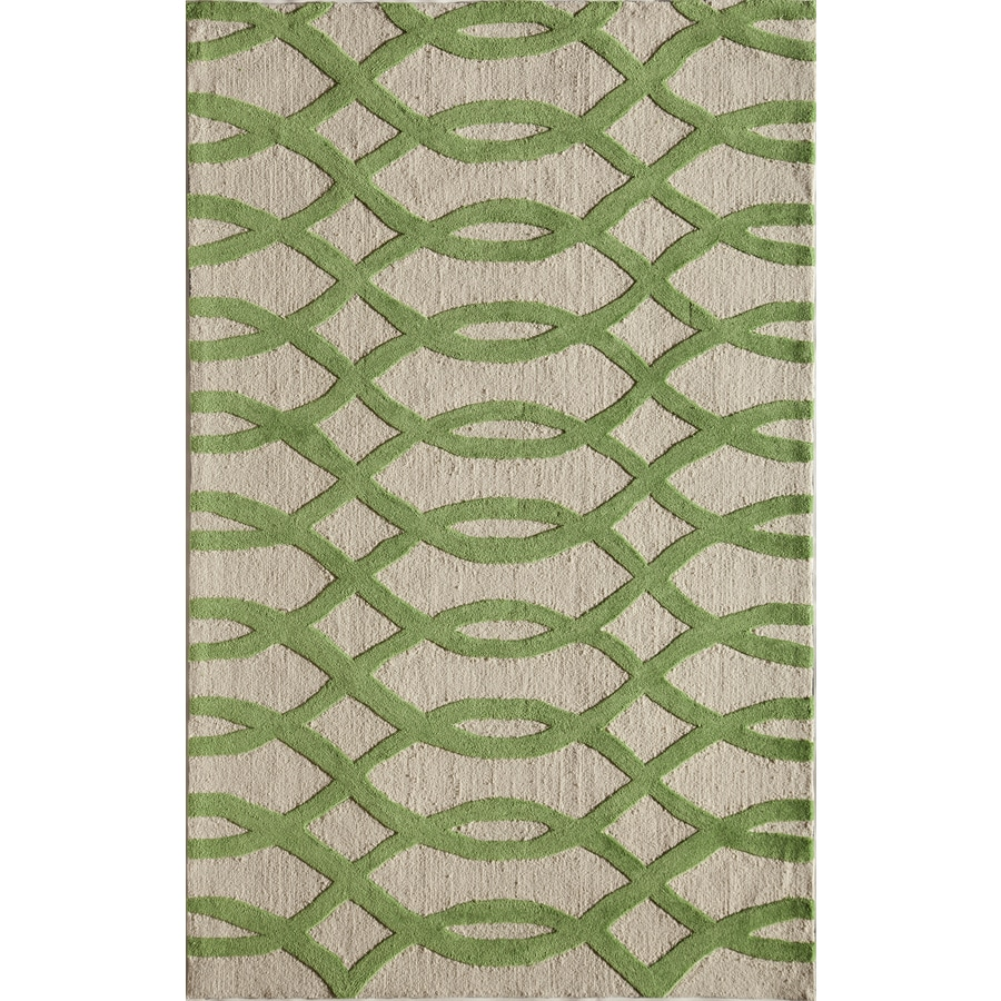 Rugs America Gramercy Wavy Green Rectangular Indoor Tufted Area Rug (Common: 8 x 10; Actual: 90-in W x 114-in L)