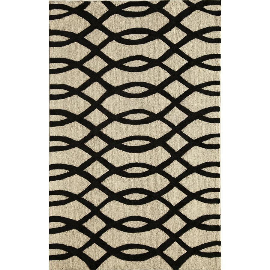 Rugs America Gramercy Wavy Black Rectangular Indoor Tufted Throw Rug (Common: 1-1 and 2 x 2-1 and 2; Actual: 18-in W x 27-in L)