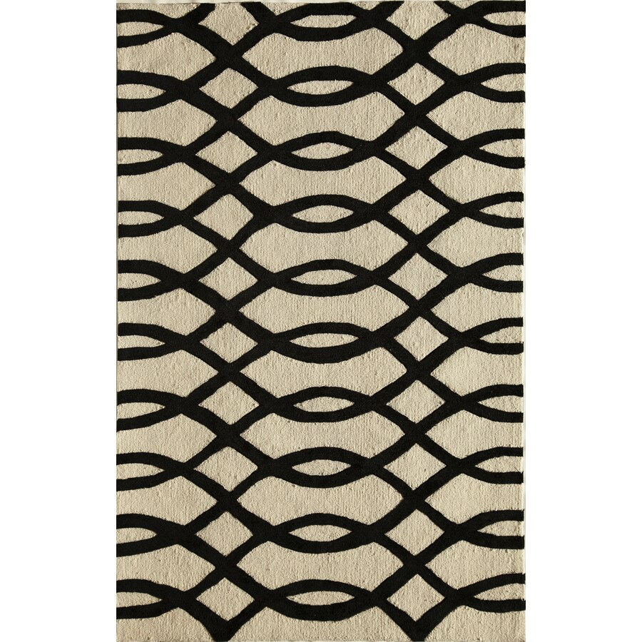 Rugs America Gramercy Wavy Black Rectangular Indoor Tufted Area Rug (Common: 5 x 8; Actual: 60-in W x 90-in L)