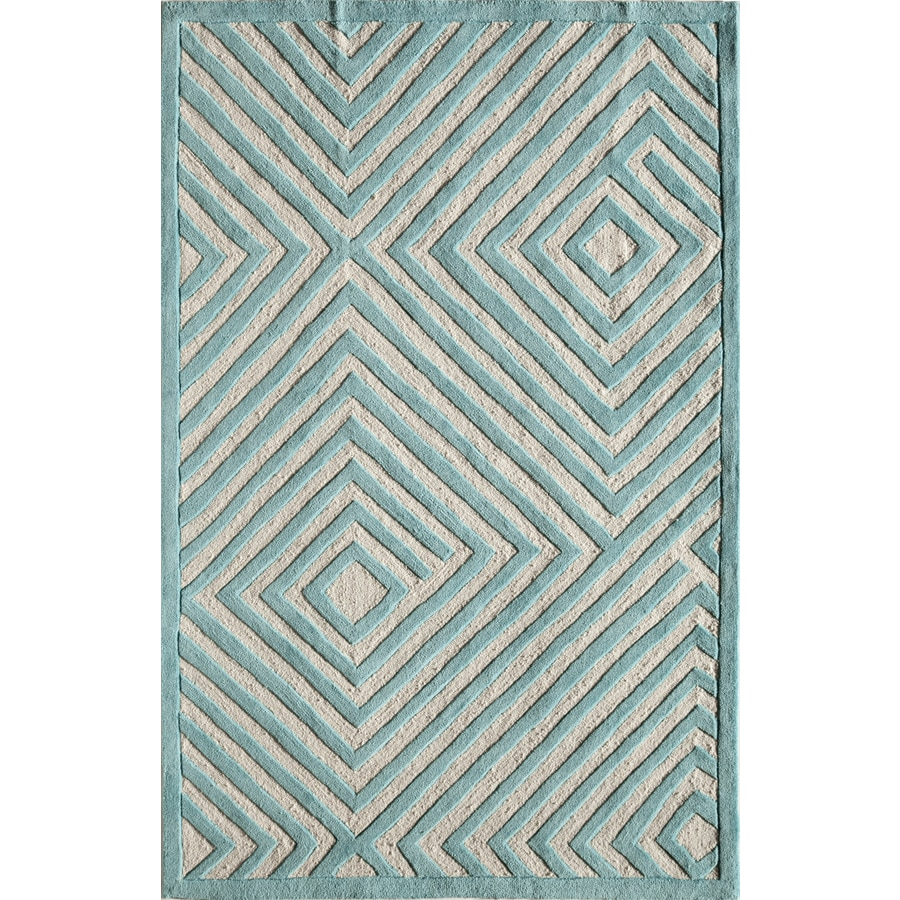 Rugs America Gramercy Light Blue Maze Rectangular Indoor Tufted Area Rug (Common: 5 x 8; Actual: 60-in W x 90-in L)