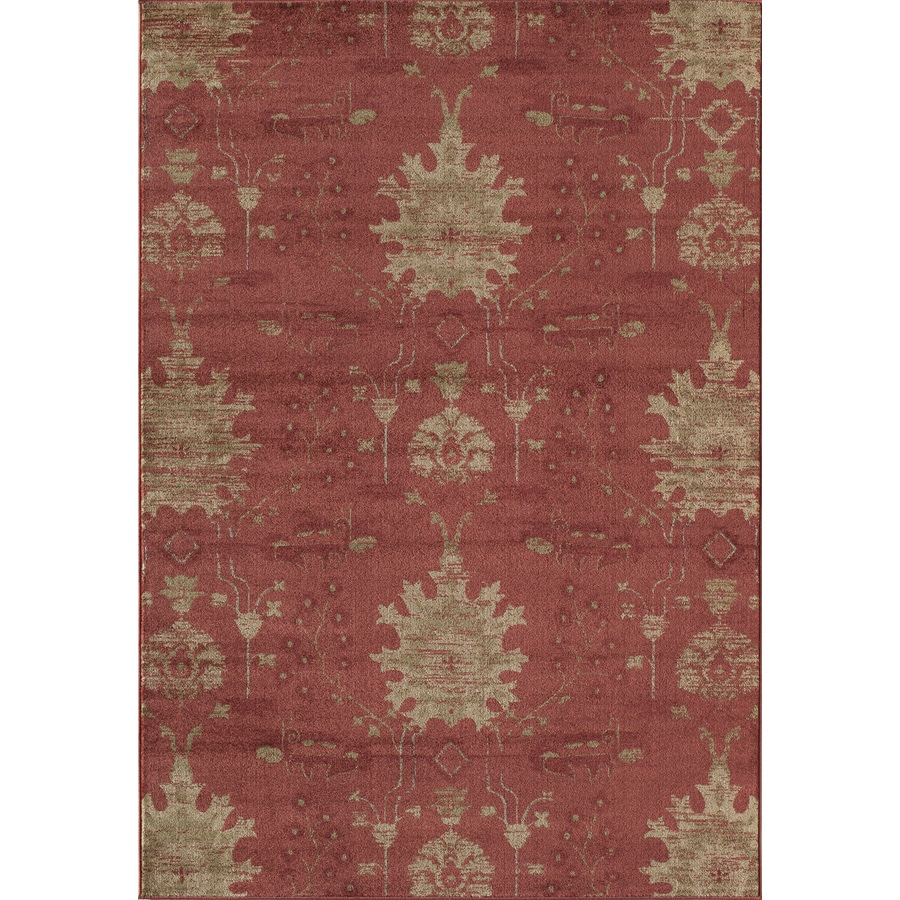 Shop rugs america rallye amber red rectangular indoor for Common throw rug sizes