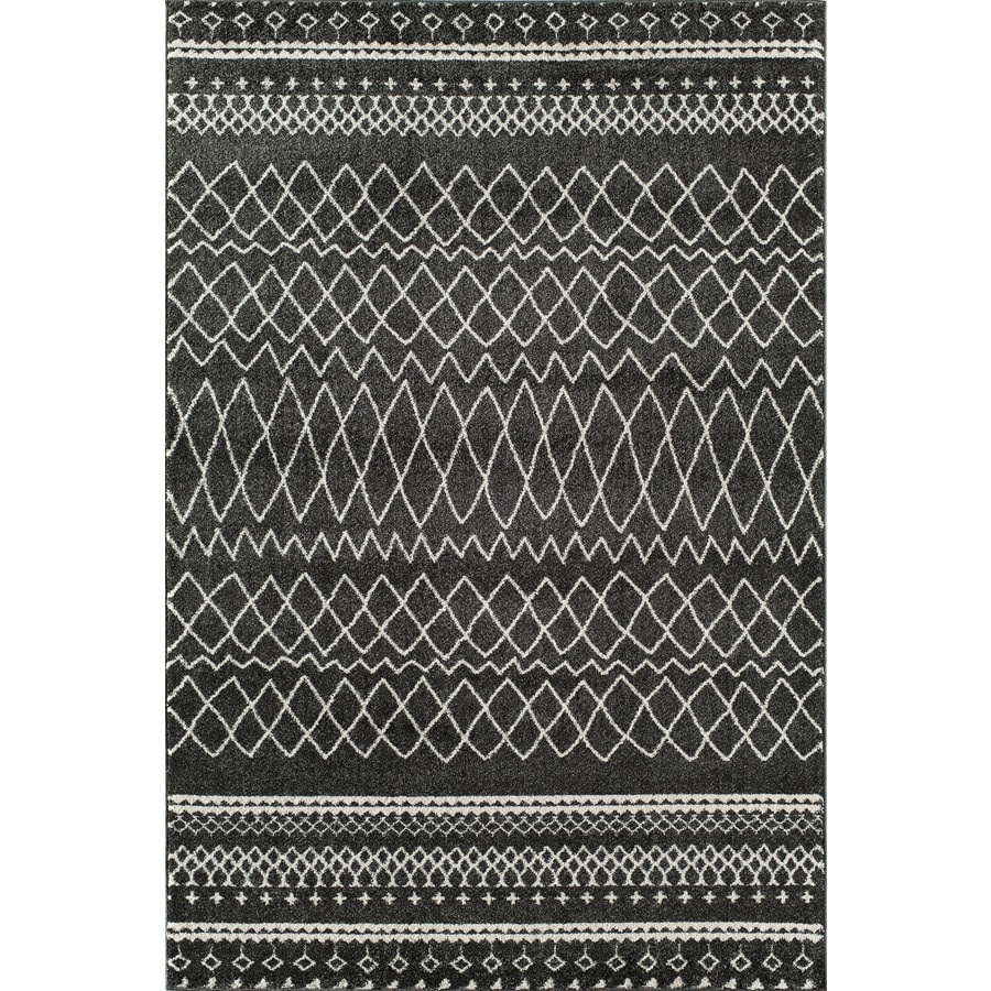 Rugs America Tangier Charcoal Rectangular Indoor Woven Area Rug (Common: 5 x 8; Actual: 63-in W x 94-in L)