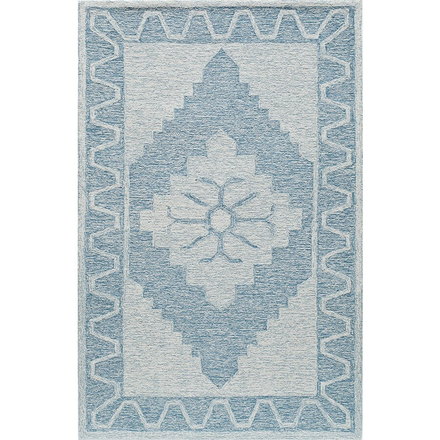 Rugs America Cortland Emblem Blue Rectangular Indoor Tufted Area Rug (Common: 8 x 10; Actual: 96-in W x 120-in L)