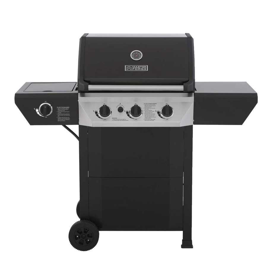 Master Forge Black 3-Burner (36,000-BTU) Liquid Propane Gas Grill with Side Burner