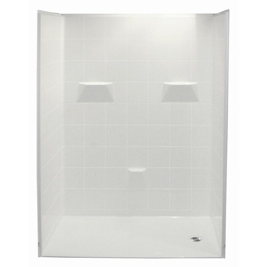 Laurel Mountain Jakeston Low Zero Threshold- Barrier Free White Gelcoat/Fiberglass Wall Gelcoat/Fiberglass Floor 5-Piece Alcove Shower Kit (Common: 30-in x 60-in; Actual: 78-in X