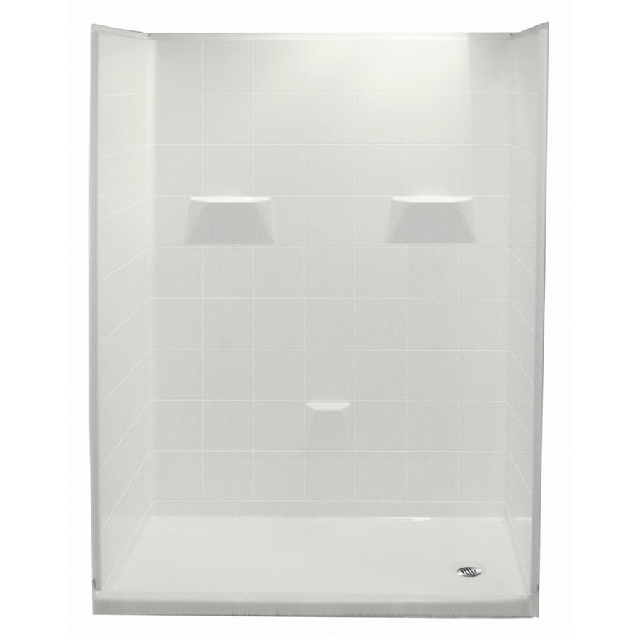 Laurel Mountain Benville Low Zero Threshold- Barrier Free White Gelcoat/Fiberglass Wall Gelcoat/Fiberglass Floor 5-Piece Alcove Shower Kit (Common: 30-in x 60-in; Actual: 80-in X