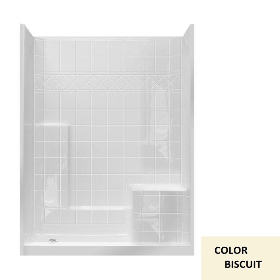 Laurel Mountain Atwood Low Zero Threshold- Barrier Free Biscuit Gelcoat/Fiberglass Wall Gelcoat/Fiberglass Floor 3-Piece Alcove Shower Kit (Common: 32-in x 60-in; Actual: 77-in X