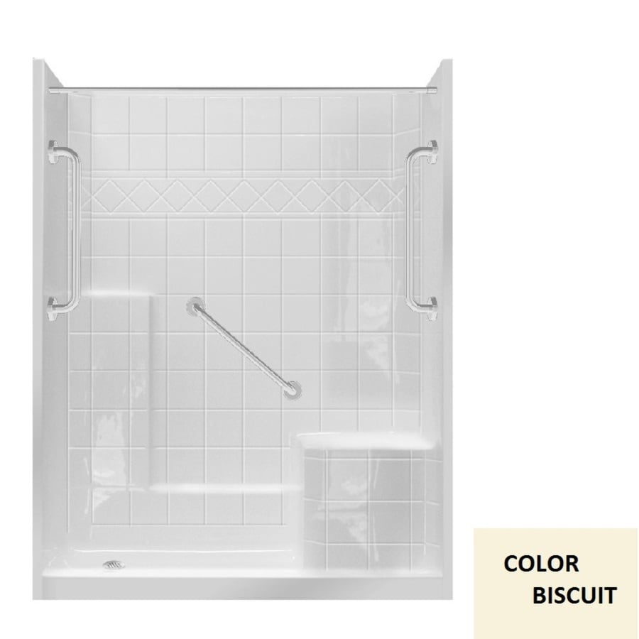Laurel Mountain Loudon Low Zero Threshold- Barrier Free Biscuit Gelcoat and Fiberglass Wall and Floor 3-Piece Alcove Shower Kit (Common: 32-in x 60-in; Actual: 77-in x 33-in x 60-in)