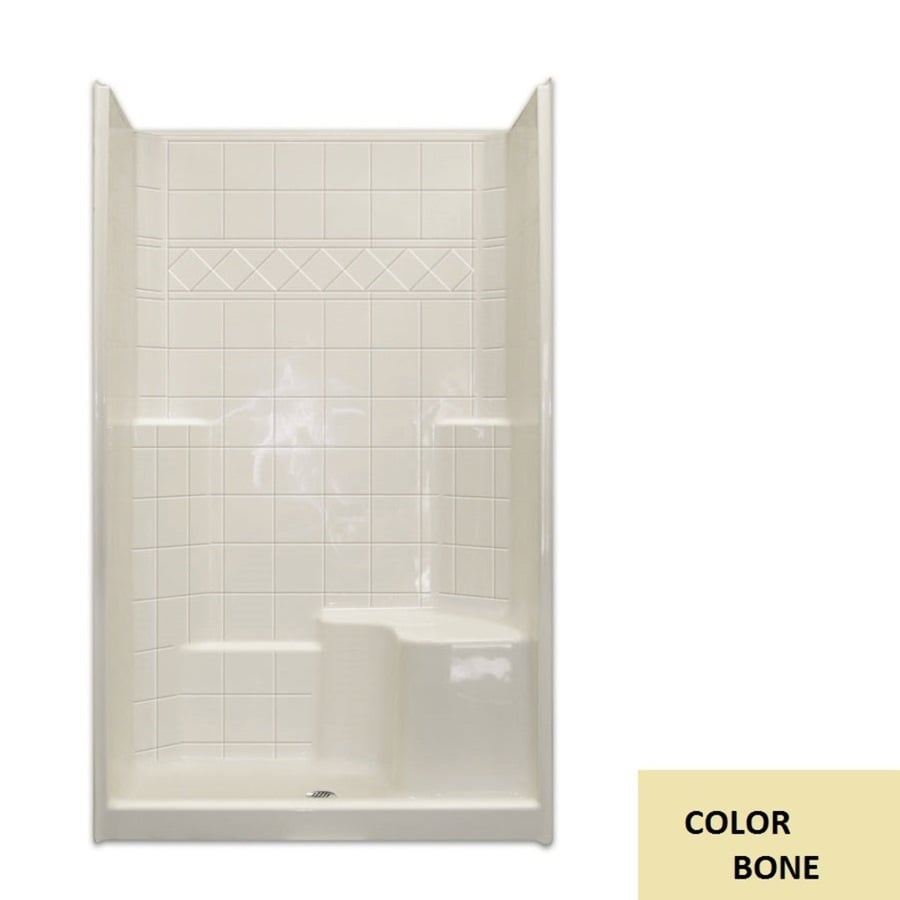 Laurel Mountain Benton Low Zero Threshold- Barrier Free Bone Gelcoat/Fiberglass Wall Gelcoat/Fiberglass Floor 3-Piece Alcove Shower Kit (Common: 36-in x 48-in; Actual: 79.5-in X