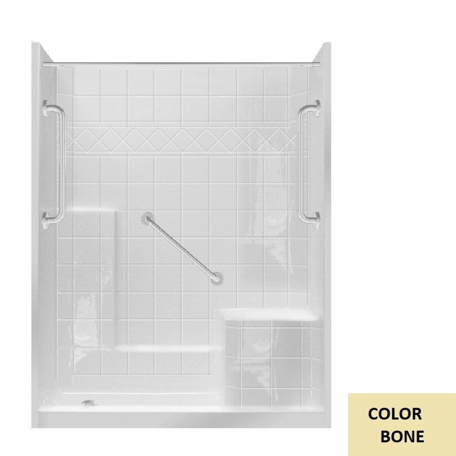Laurel Mountain Loudon Low Zero Threshold- Barrier Free Bone Gelcoat and Fiberglass Wall and Floor 3-Piece Alcove Shower Kit (Common: 32-in x 60-in; Actual: 77-in x 33-in x 60-in)