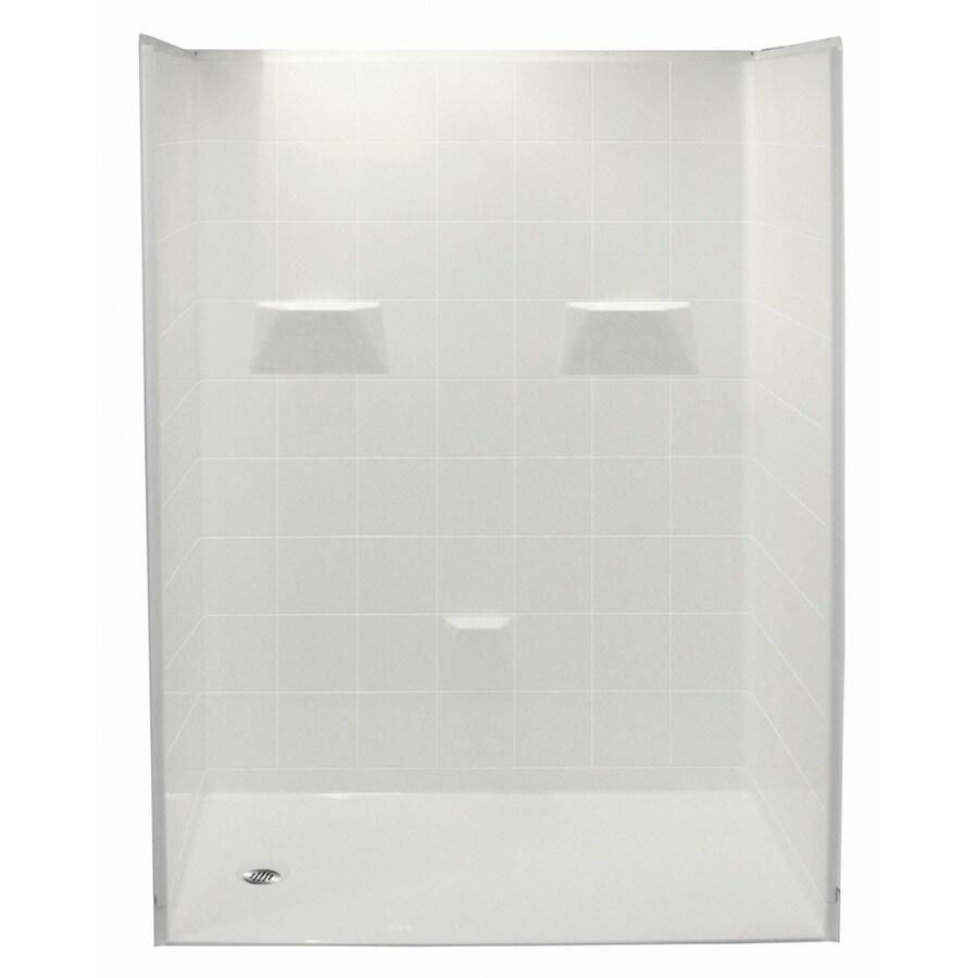 Laurel Mountain Gleason Low Zero Threshold- Barrier Free White Gelcoat/Fiberglass Wall Gelcoat/Fiberglass Floor 5-Piece Alcove Shower Kit (Common: 36-in x 60-in; Actual: 78-in X