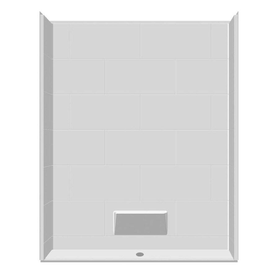 Laurel Mountain Rossville Low Zero Threshold- Barrier Free White Gelcoat/Fiberglass Wall Gelcoat/Fiberglass Floor 5-Piece Alcove Shower Kit (Common: 32-in x 60-in; Actual: 79-in X
