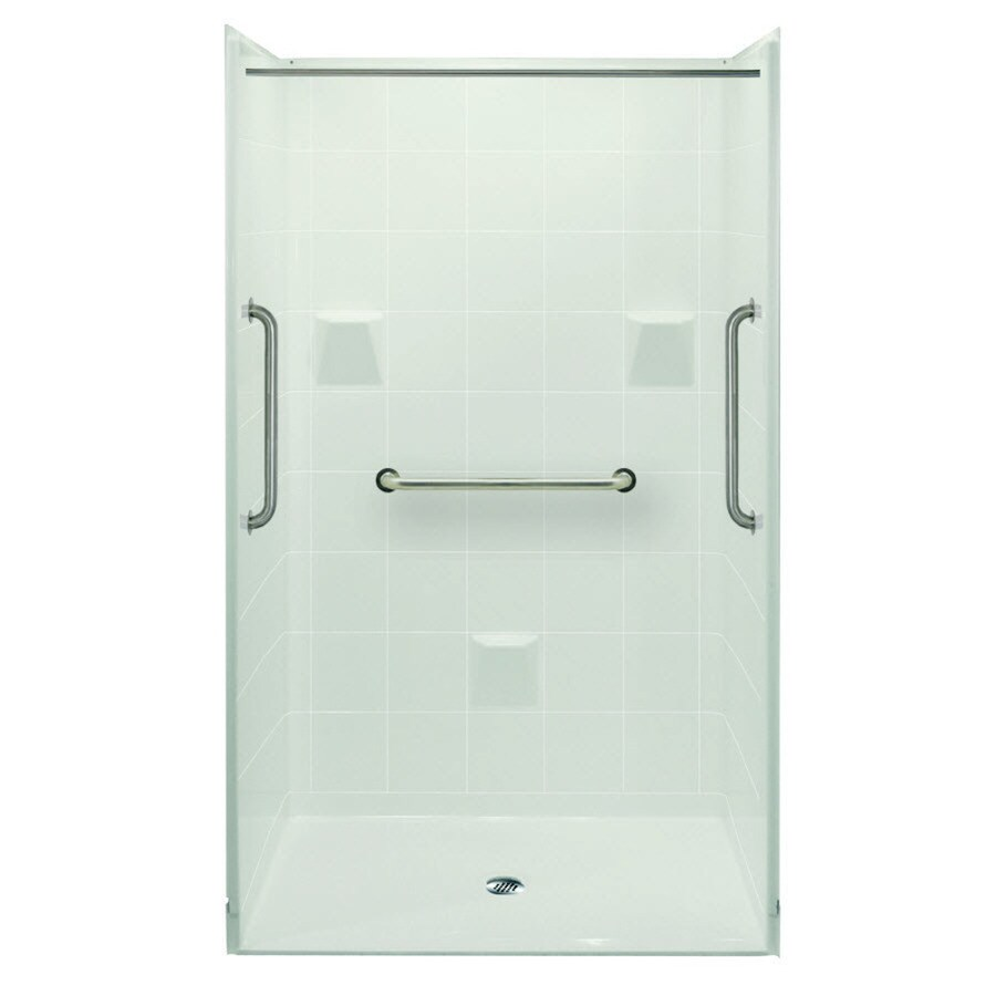 Laurel Mountain Bartlett Ii Barrier Free Shower White Gelcoat/Fiberglass Wall Gelcoat/Fiberglass Floor 4-Piece Alcove Shower Kit (Common: 36-in x 48-in; Actual: 78-in X