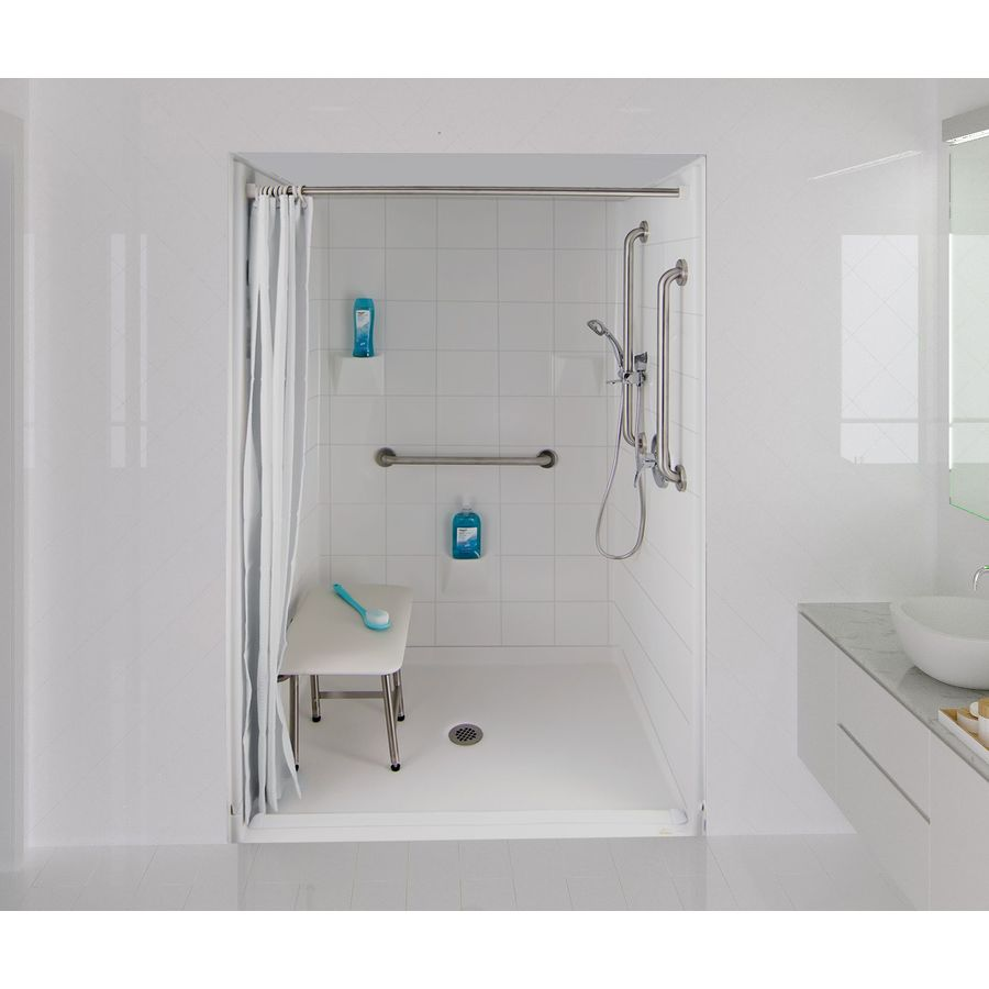 Laurel Mountain Bartlett Iii Barrier Free Shower White Gelcoat/Fiberglass Wall Gelcoat/Fiberglass Floor 4-Piece Alcove Shower Kit (Common: 36-in x 48-in; Actual: 78-in X