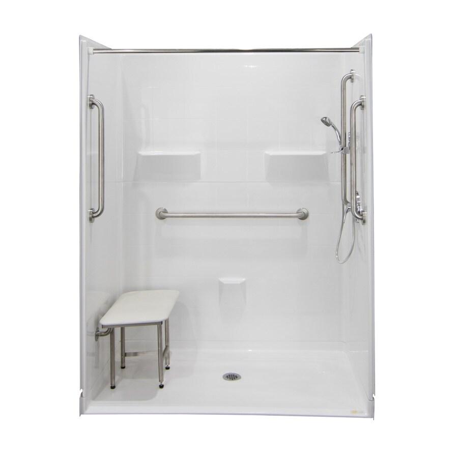 Laurel Mountain Ridgely Iii Barrier Free Shower White Gelcoat/Fiberglass Wall Gelcoat/Fiberglass Floor 5-Piece Alcove Shower Kit (Common: 32-in x 60-in; Actual: 78-in X